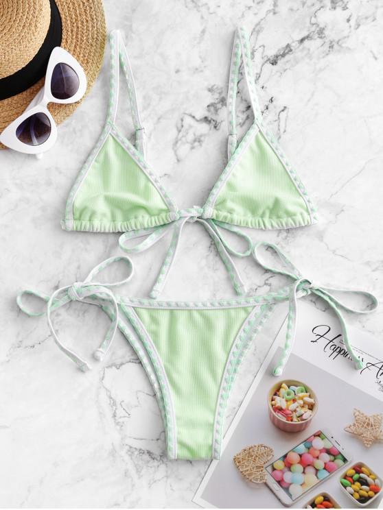womens ZAFUL Textured Whip Stitch String Bikini Swimsuit - MINT GREEN L
