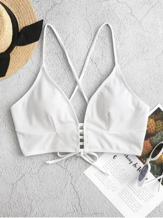 women ZAFUL Textured Strappy Crisscross Lace-up Bikini Top - WHITE 2XL