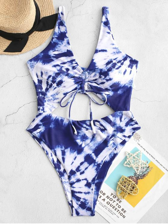 trendy ZAFUL Tie Dye Cinched Cutout One-piece Swimsuit - COBALT BLUE XL