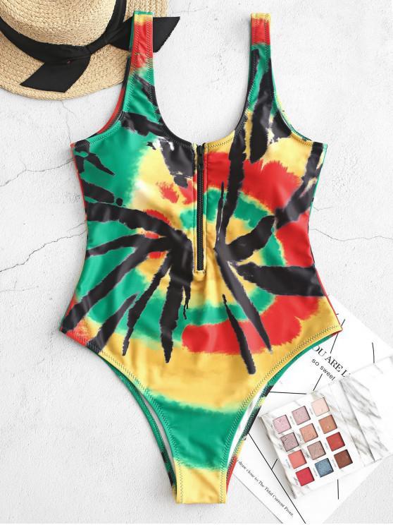 women's ZAFUL Half-zip Tie Dye One-piece Swimsuit - MULTI-A XL