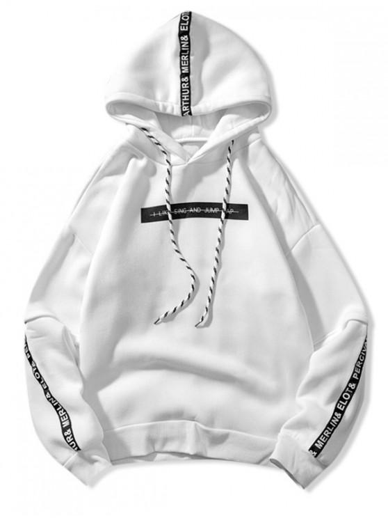 shop Letter Pattern Drawstring Drop Shoulder Hoodie - WHITE 2XL