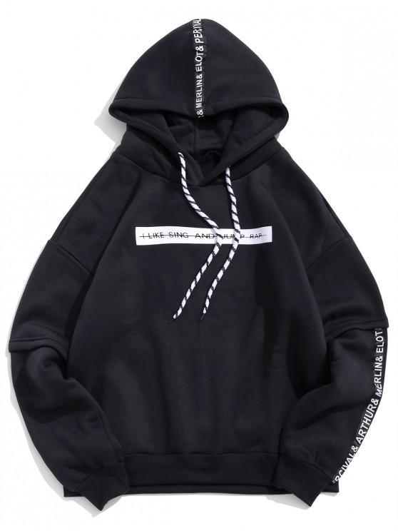 chic Letter Pattern Drawstring Drop Shoulder Hoodie - BLACK 2XL