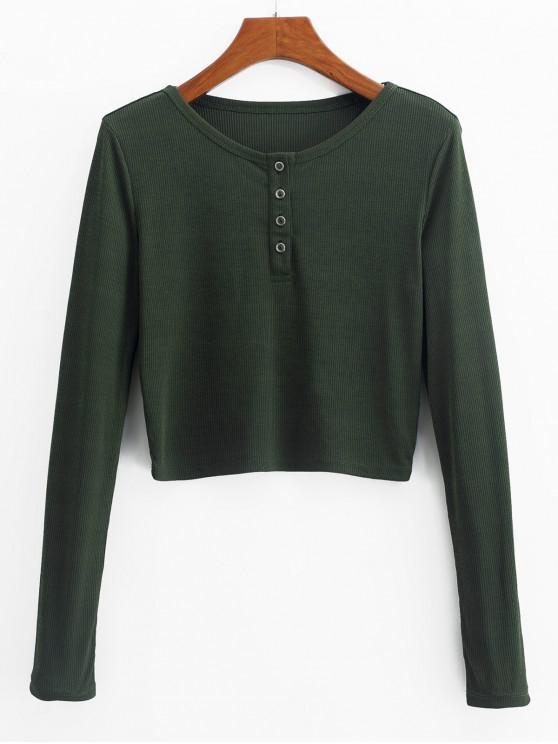 chic ZAFUL Henley Cropped Knit Tee - FERN GREEN S
