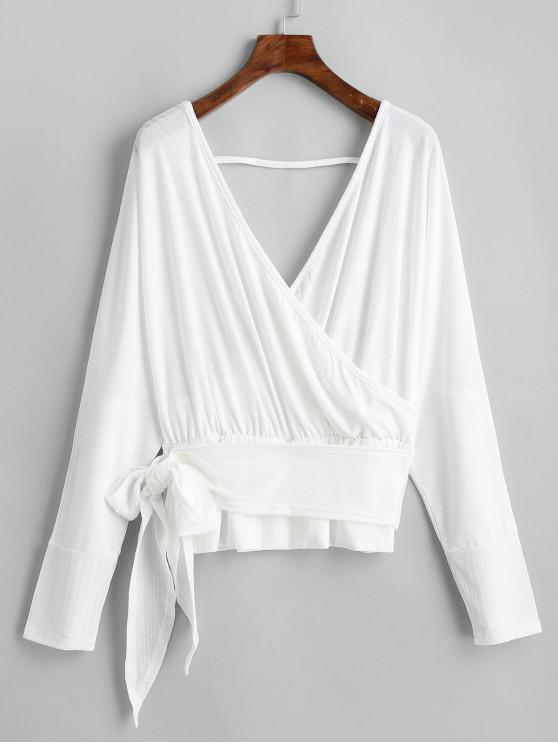 affordable Dolman Sleeves V Neck Surplice Solid Tee - WHITE L