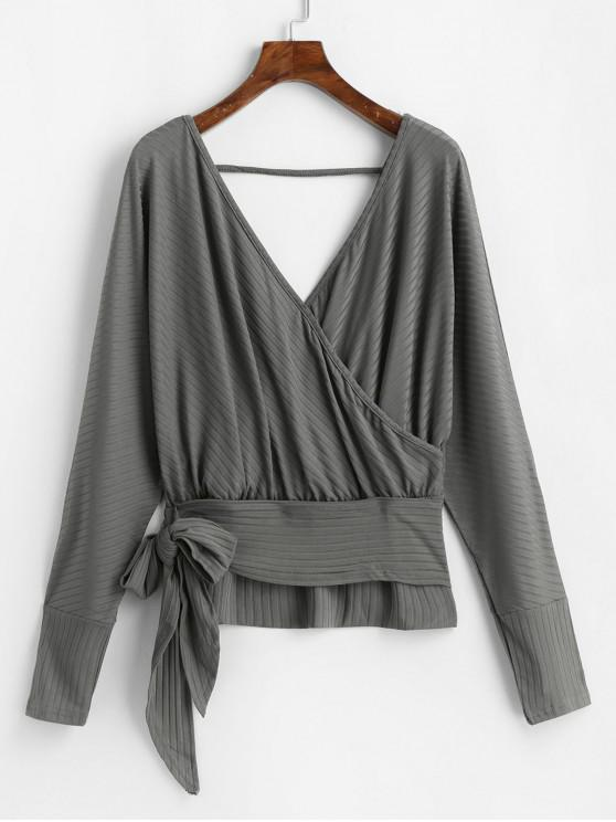 women Dolman Sleeves V Neck Surplice Solid Tee - DARK GRAY S