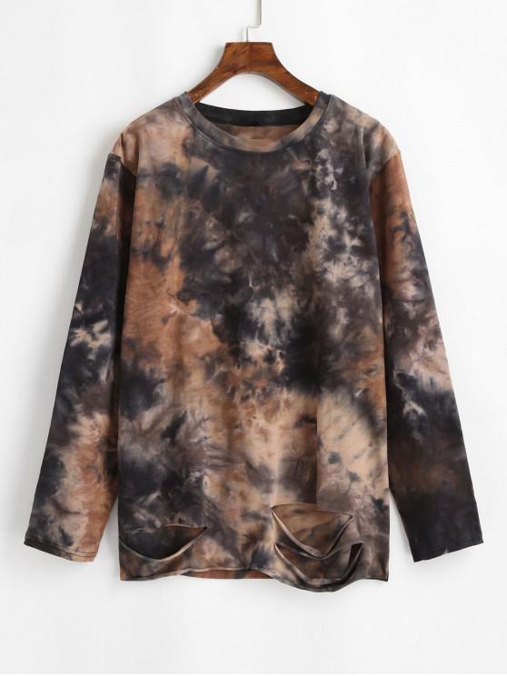 Tie Dye Distressed Longline Sweatshirt - Multi O marime
