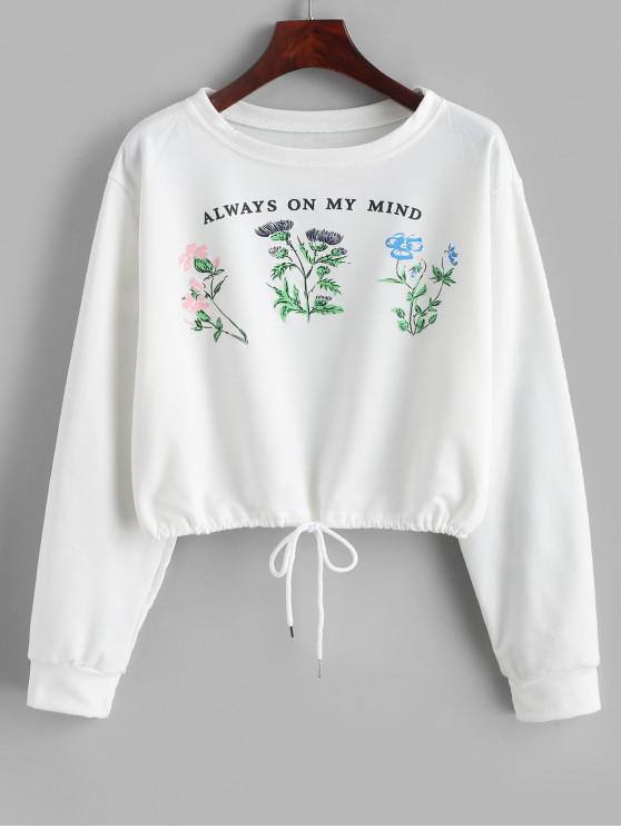 women Slogan Plant Graphic Drawstring French Terry Sweatshirt - WHITE XL