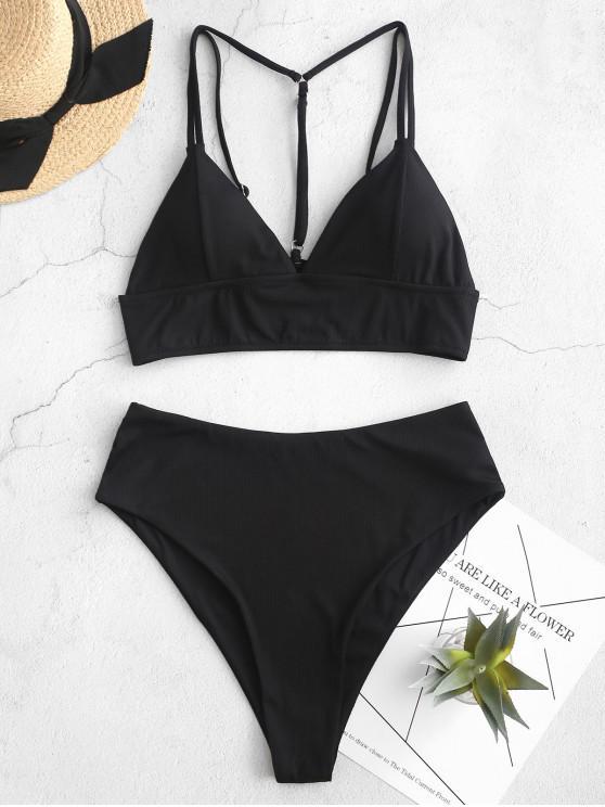 ZAFUL السامي قطع النيون مضلع مزدوج الشريط Tankini ملابس السباحة - أسود L