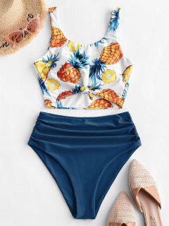 ZAFUL Pineapple Knotted Tummy Control Tankini Swimsuit - Multi-b 2xl