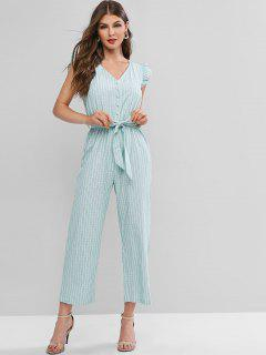 Buttoned Striped Belted Wide Leg Jumpsuit - Green M