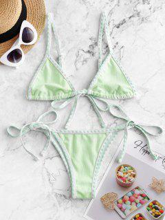 ZAFUL Textured Whip Stitch String Bikini Swimsuit - Mint Green S