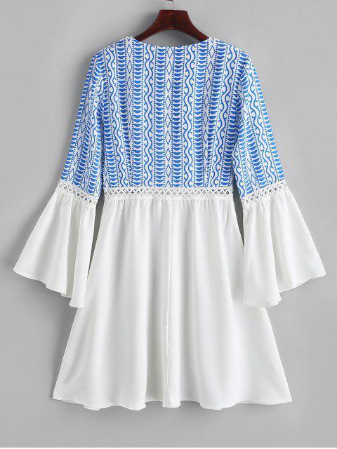 lady ZAFUL Flare Sleeve Printed Lace Panel Mini Dress - WHITE S Mobile
