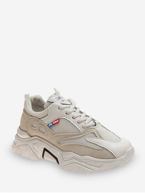 chic Pinhole Mesh Trim Casual Dad Sneakers - BEIGE EU 37 Mobile