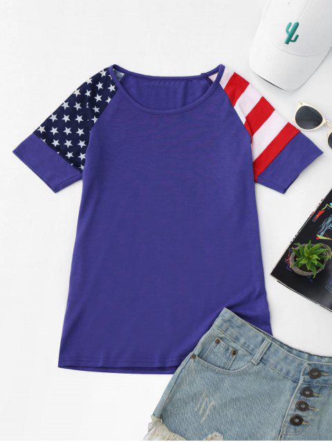 buy Raglan Sleeve Patriotic American Flag T-Shirt - BLUE XL Mobile