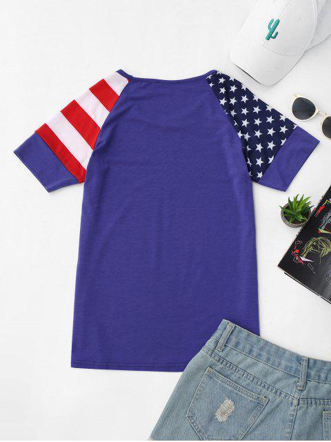 T-shirt Imprimé Drapeau Américain Manches Raglan - Bleu S Mobile