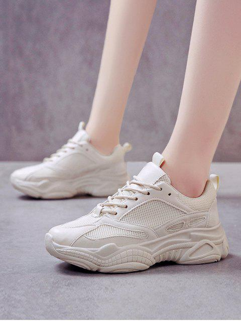 women Lace Up Mesh PU Casual Sneakers - BEIGE EU 35 Mobile