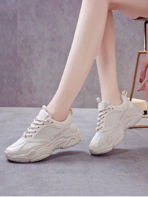 best Lace Up Mesh PU Casual Sneakers - BEIGE EU 40 Mobile
