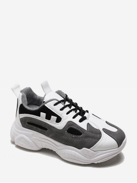 ladies Lace Up Mesh Panel PU Platform Sneakers - BLACK EU 36 Mobile