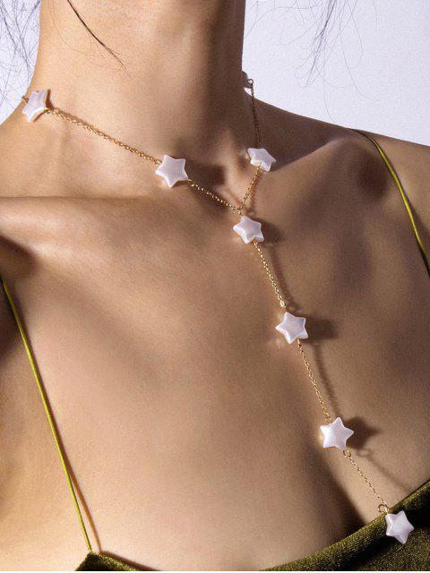 Y-форма Звезда Жемчуг Цепное Ожерелье - Золотой  Mobile