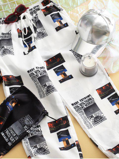 Pantalones de chándal rompevientos estampados de tiro medio - Multicolor-A XL Mobile