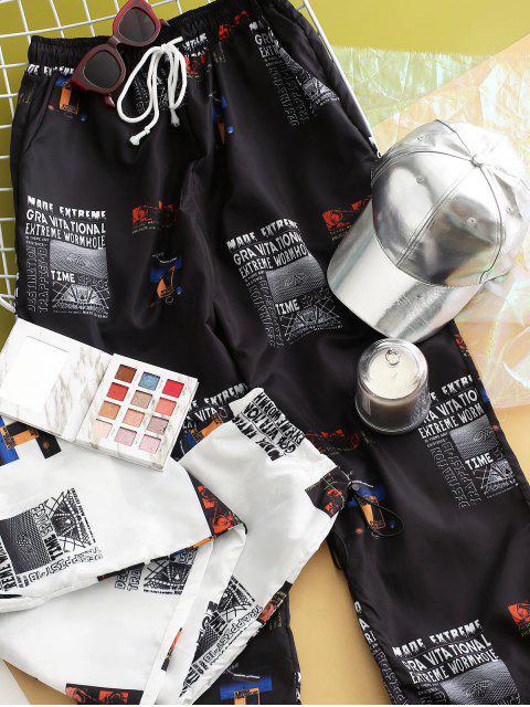 Pantalones de chándal rompevientos estampados de tiro medio - Negro S Mobile