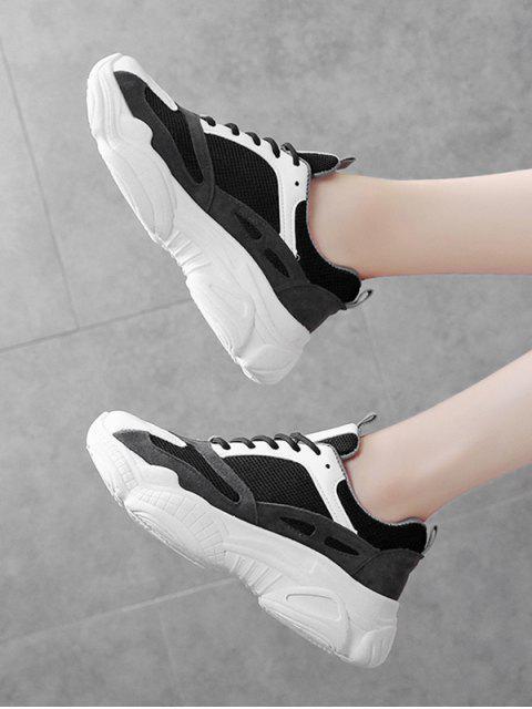 fancy Lace Up Mesh PU Casual Sneakers - BLACK EU 39 Mobile