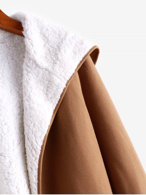hot Fur Lining Hooded Coat - BROWN S Mobile