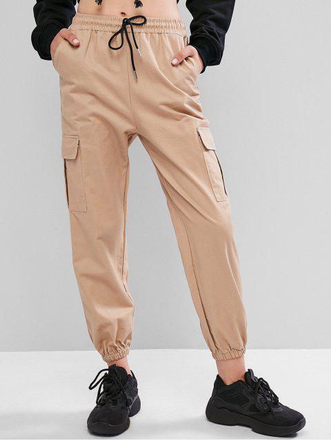 Pantalones jogger de bolsillo con cordón - Tan XL Mobile