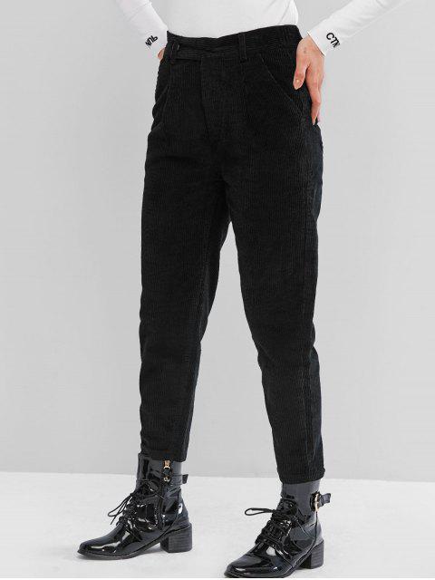 Pantalones lápiz de bolsillo de pana de gran altura - Negro 2XL Mobile