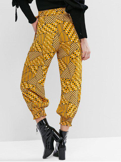 Pantalones jogger con cinturón y bolsillo de lunares ahumados con lunares - Amarillo S Mobile