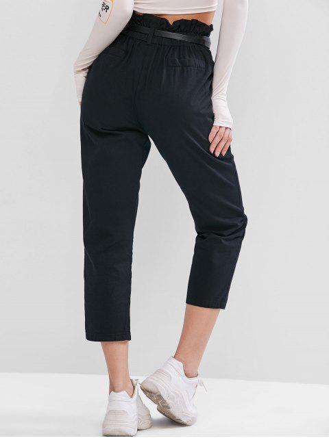 Pantalones lápiz con bolsillos de papel con bolsillos y cintura alta - Negro M Mobile
