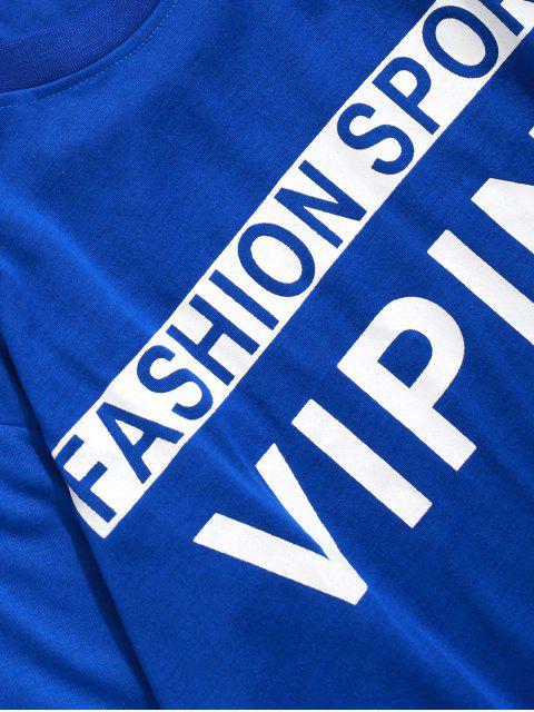 Sweat-shirt Lettre Imprimée Fausse Deux Pièces - Bleu Océan XS Mobile