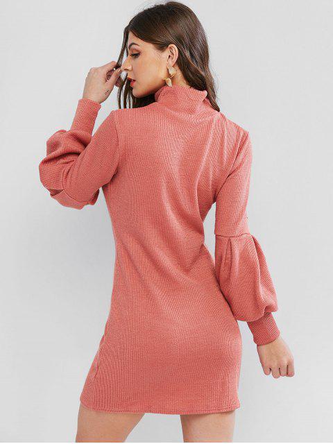 online Lantern Sleeve High Neck Short Sweater Dress - PINK M Mobile