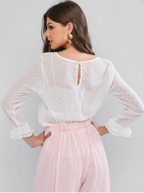fashion Swiss Dot Ruffle Cuff See Thru Pleated Blouse - WHITE XL Mobile