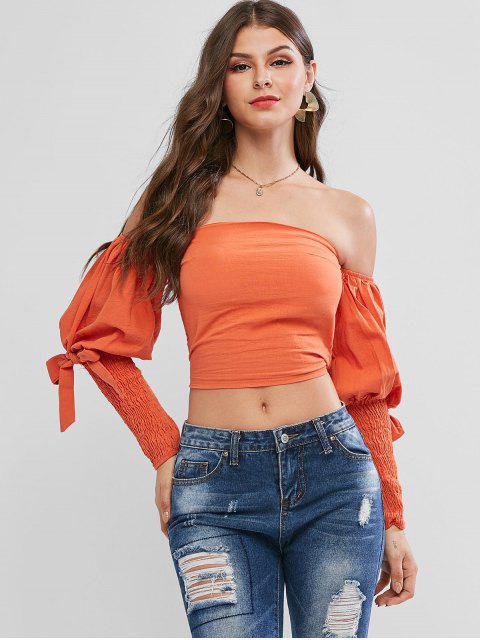 shop Smocked Bandeau Tied Gigot Sleeve Crop Blouse - DARK ORANGE M Mobile