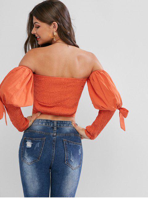 chic Smocked Bandeau Tied Gigot Sleeve Crop Blouse - DARK ORANGE S Mobile