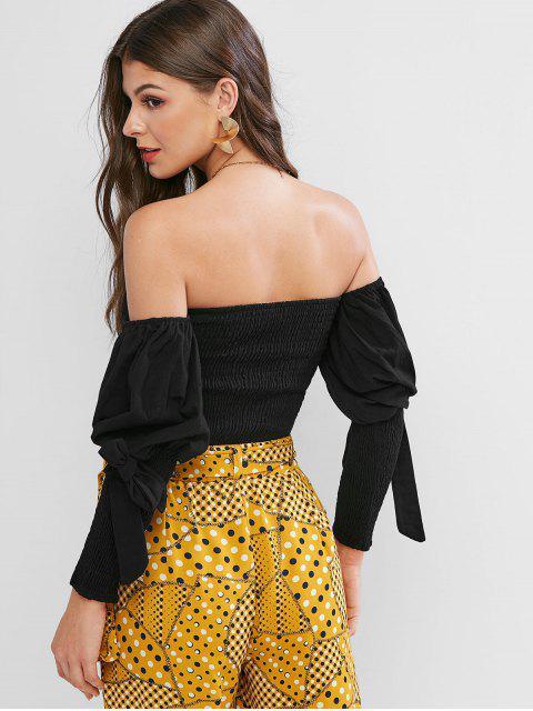 fancy Smocked Bandeau Tied Gigot Sleeve Crop Blouse - BLACK L Mobile