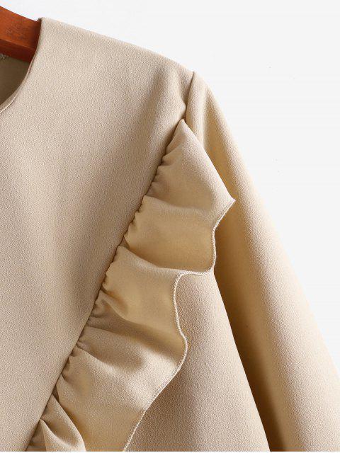 unique Flounce Long Sleeves Blouse - BROWN XL Mobile