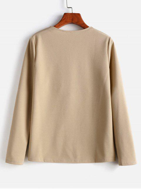 fashion Flounce Long Sleeves Blouse - BROWN S Mobile