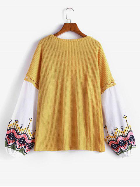 ladies Embroidery Spliced Lantern Sleeves Sweater - YELLOW M Mobile