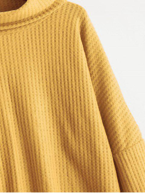 fancy Cowl Neck High Low Sweater - YELLOW M Mobile