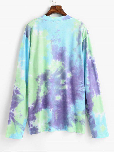 lady Tie Dye Drop Shoulder Longline T-shirt - MULTI ONE SIZE Mobile