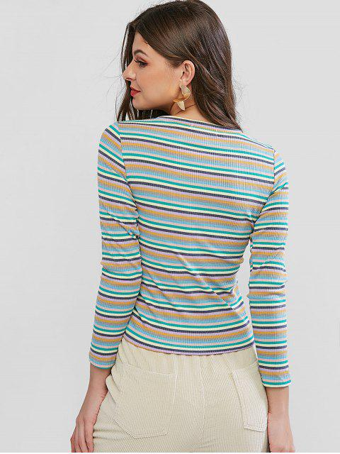 shops Colorful Striped Ribbed Cinched T-shirt - MULTI-C XL Mobile