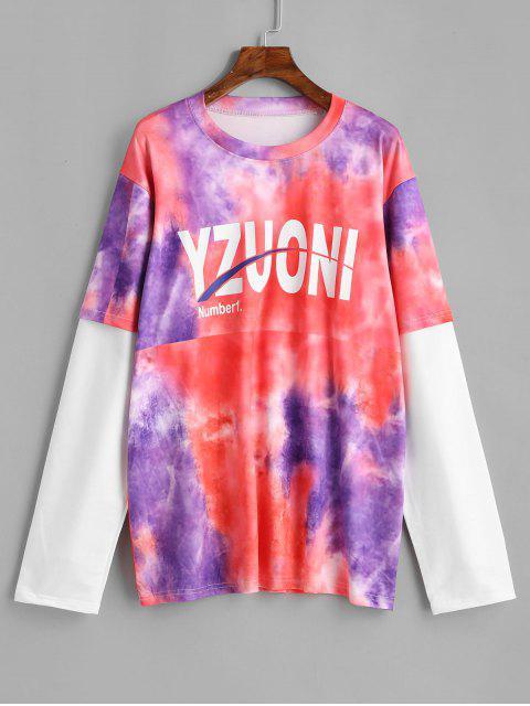 fancy Tie Dye Doctor Sleeve Longline T-shirt - MULTI ONE SIZE Mobile