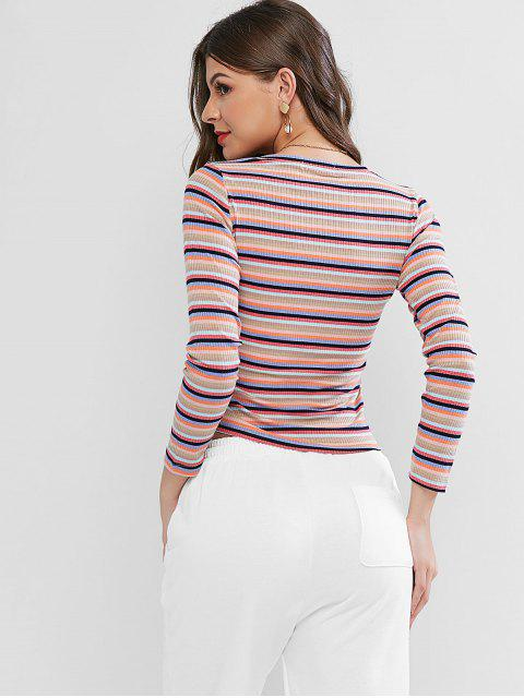 sale Colorful Striped Ribbed Cinched T-shirt - MULTI-A XL Mobile