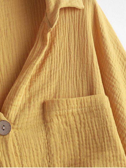unique Buttons Boyfriend Shirt - YELLOW M Mobile