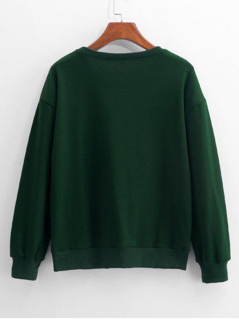 best ZAFUL Deer Head Embroidery Long Sleeve Casual Sweatshirt - MEDIUM FOREST GREEN L Mobile