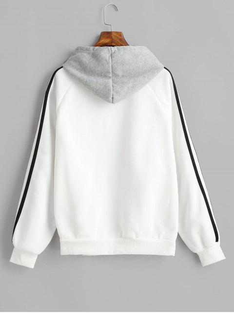 buy Side Striped Raglan Sleeves Drawstring Hoodie - WHITE M Mobile