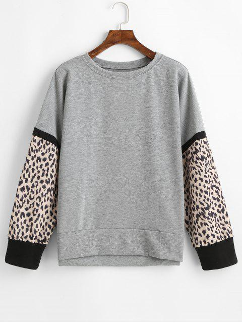 womens Casual Leopard Insert Drop Shoulder Sweatshirt - GRAY S Mobile