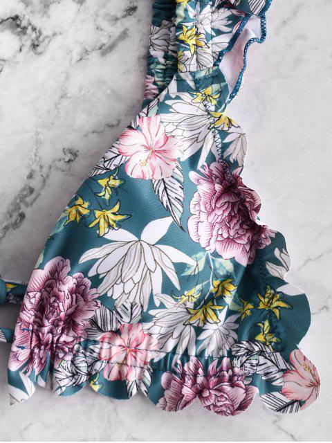 new ZAFUL Flower Ruffle High Leg Bikini Swimsuit - MULTI-A S Mobile